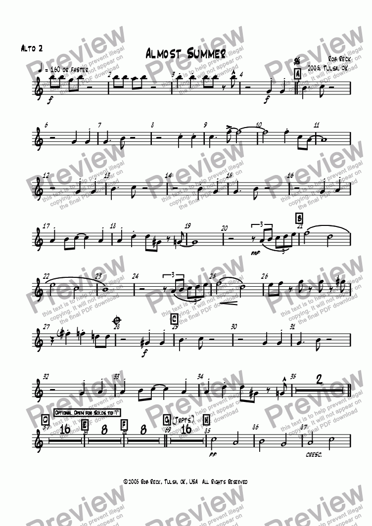 page one of the Alto Sax 2 part from Almost Summer (Big Band-Printable Version w/parts)