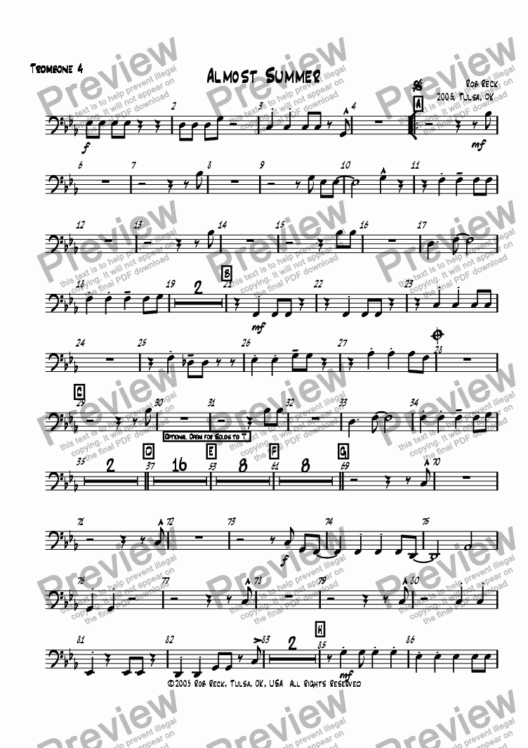 page one of the Trombone 4 part from Almost Summer (Big Band-Printable Version w/parts)