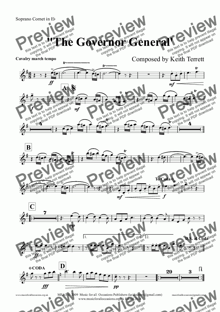 page one of the Soprano Cornet in E^b part from Governor General March (The) for Brass Band (Keith Terrett Classic March Collection)