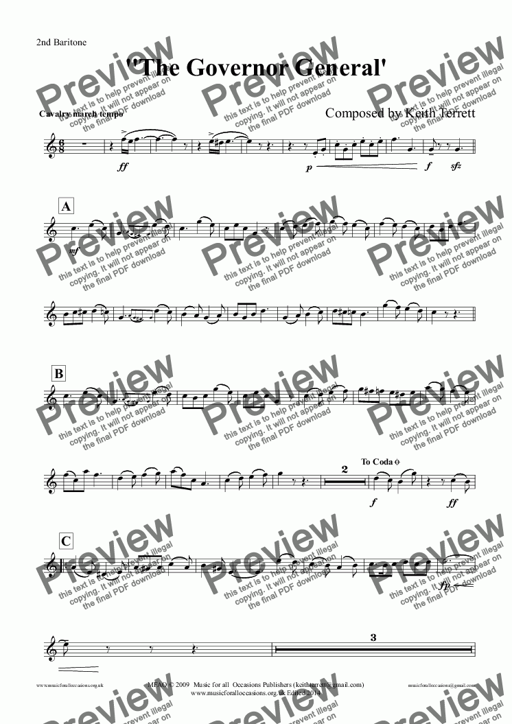 page one of the 2nd Baritone part from Governor General March (The) for Brass Band (Keith Terrett Classic March Collection)