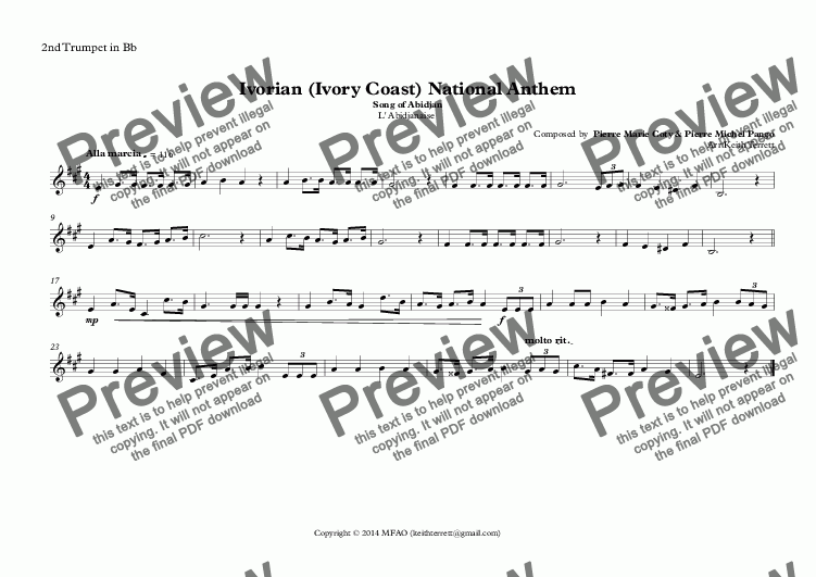 page one of the 2nd Trumpet in Bb part from Ivorian (Ivory Coast) National Anthem (Song of Abidjan-L' Abidjanaise) for Brass Quintet (World National Anthem Series)
