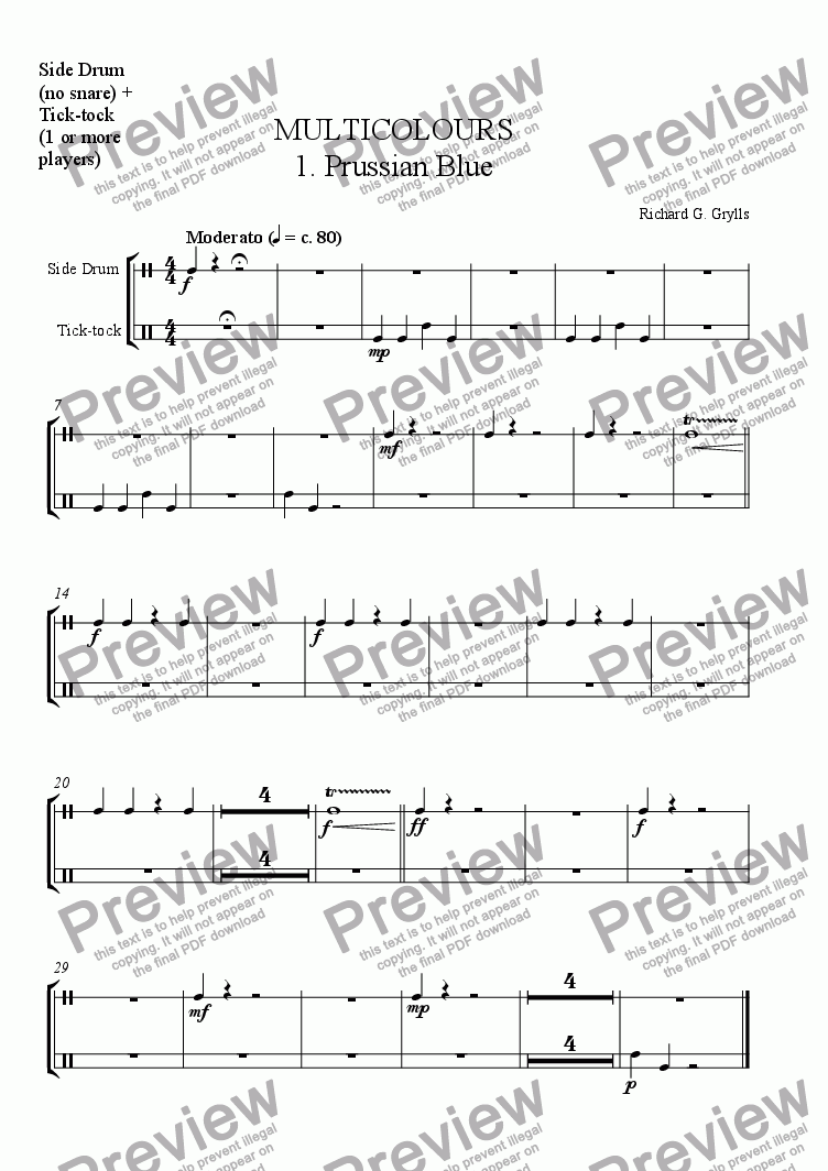 page one of the Non-Pitched Percussion 2 part from Multicolours 1. Prussian Blue
