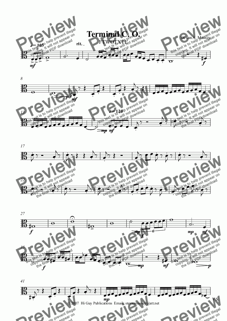 page one of the Viola part from Terminal C. O.