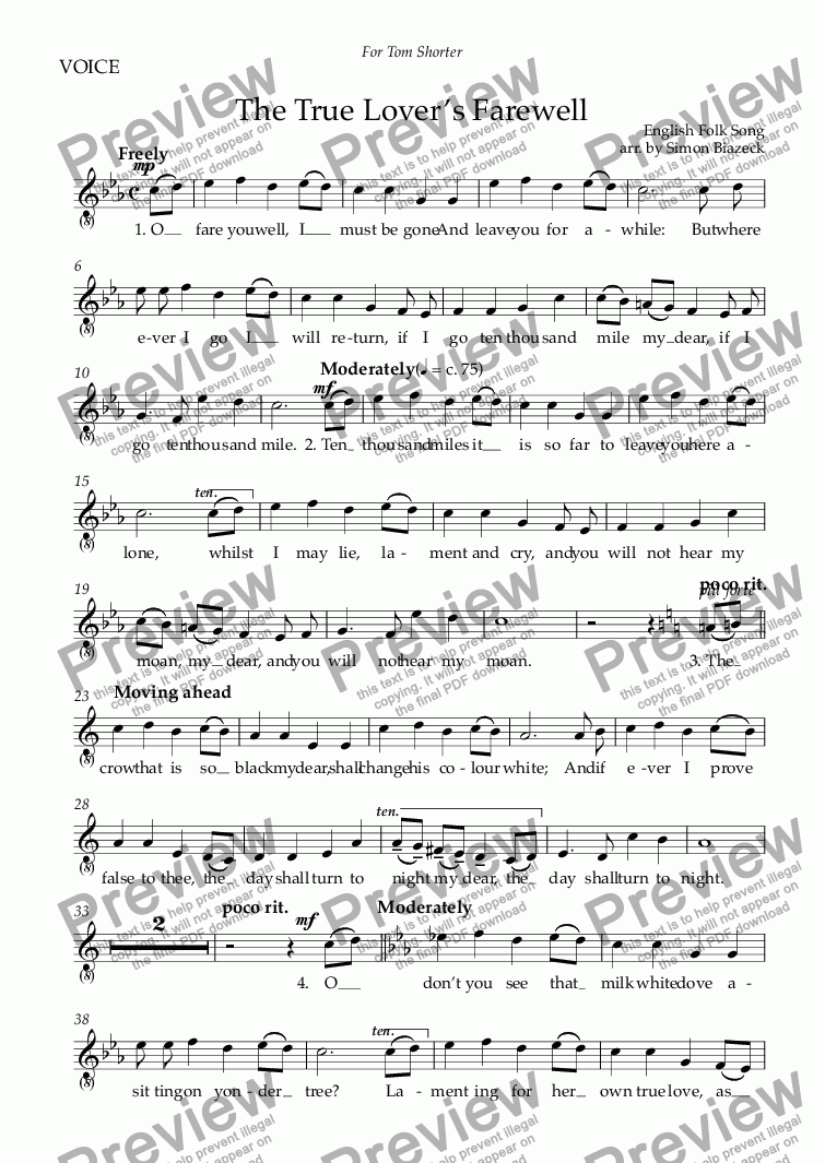 page one of the VOICE part from The True Lover's Farewell (High Voice: C minor)