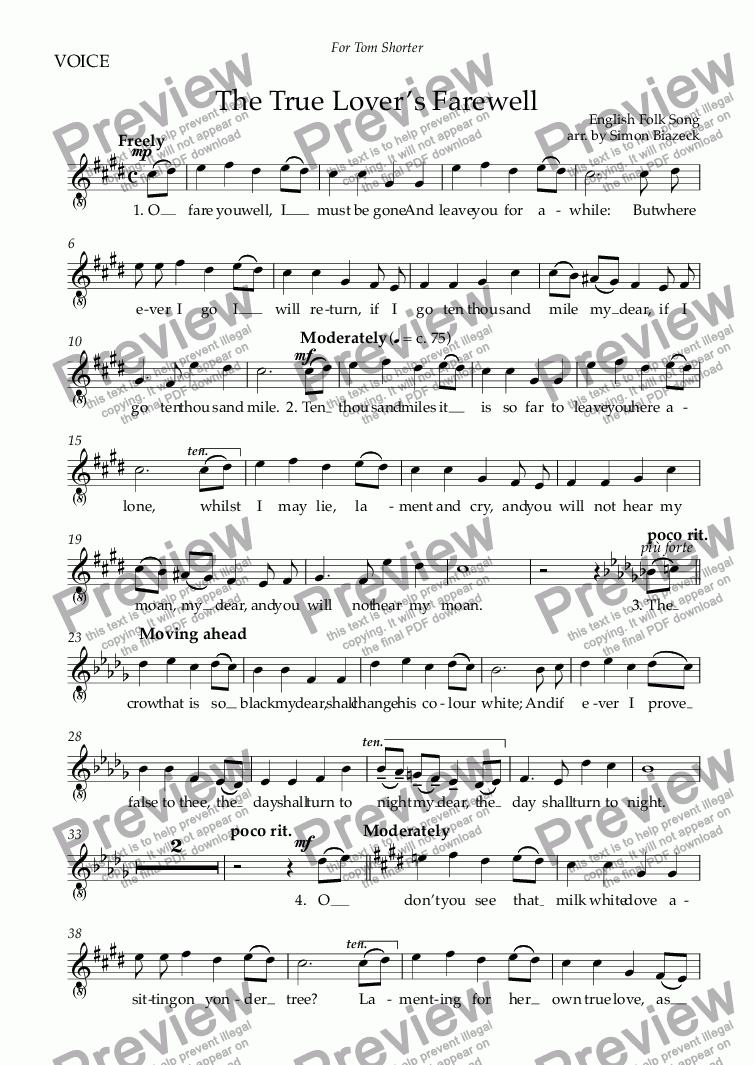 page one of the VOICE part from The True Lover's Farewell (High Voice: C-sharp minor)