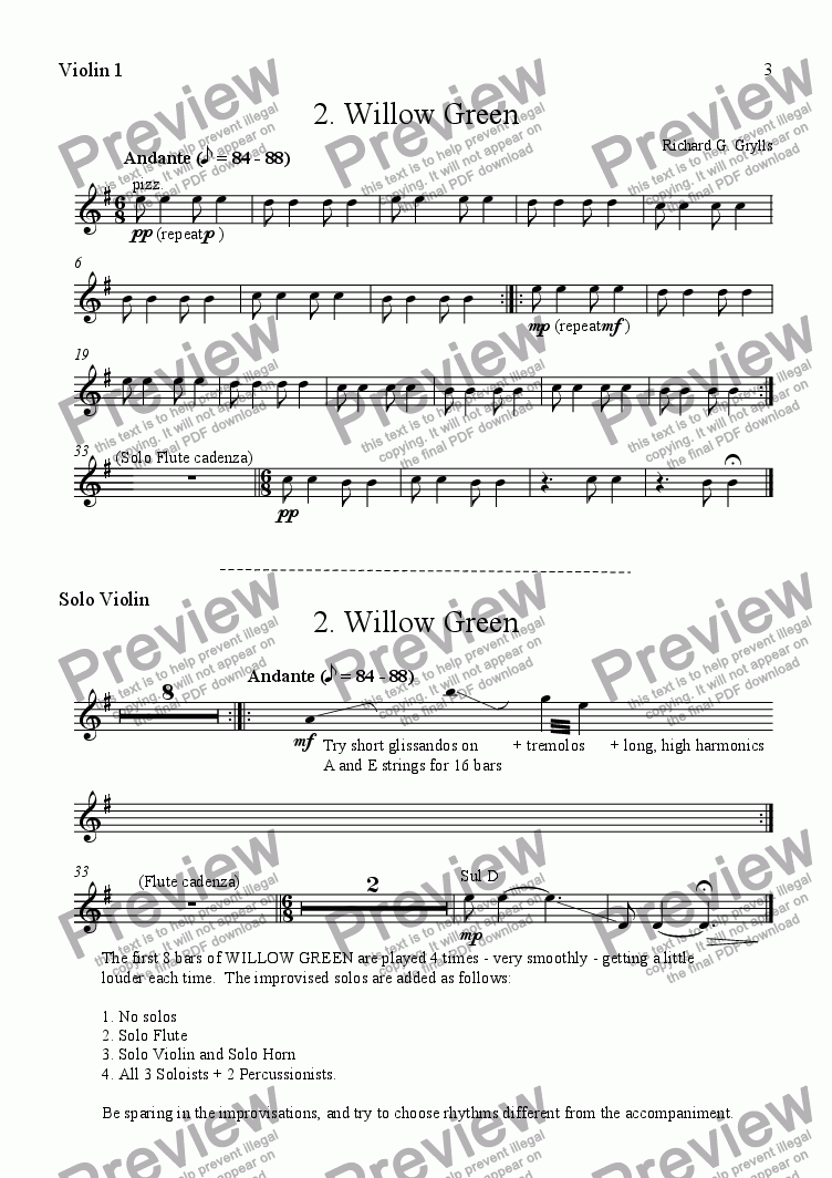 page one of the Violins 1 + Solo Violin part from Multicolours 2. Willow Green