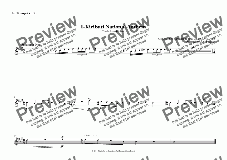 page one of the 1st Trumpet in Bb part from Kiribati National Anthem (Teirake kaini Kiribati) for Brass Quintet (World National Anthem Series)