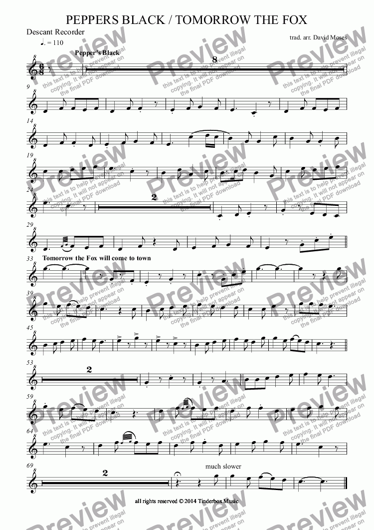 page one of the Descant Recorder part from PEPPERS BLACK / TOMORROW THE FOX