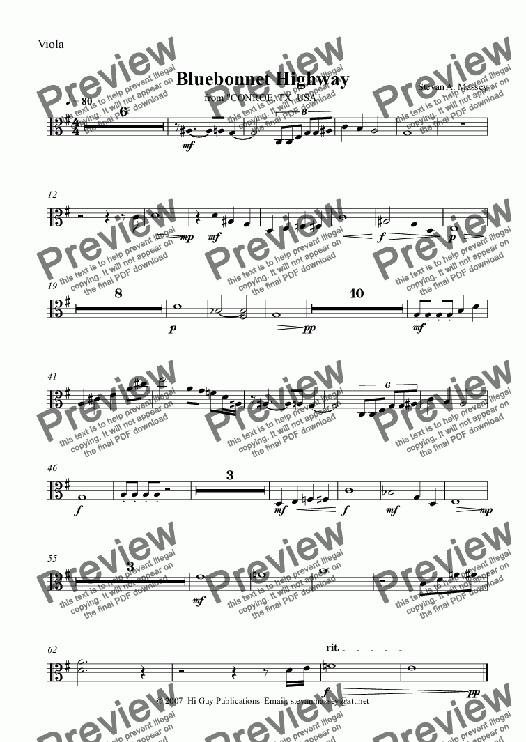 page one of the Viola part from Bluebonnet Highway