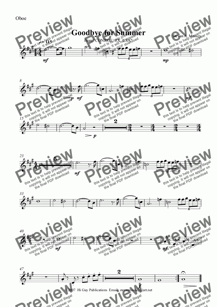 page one of the Oboe part from Goodbye for Summer