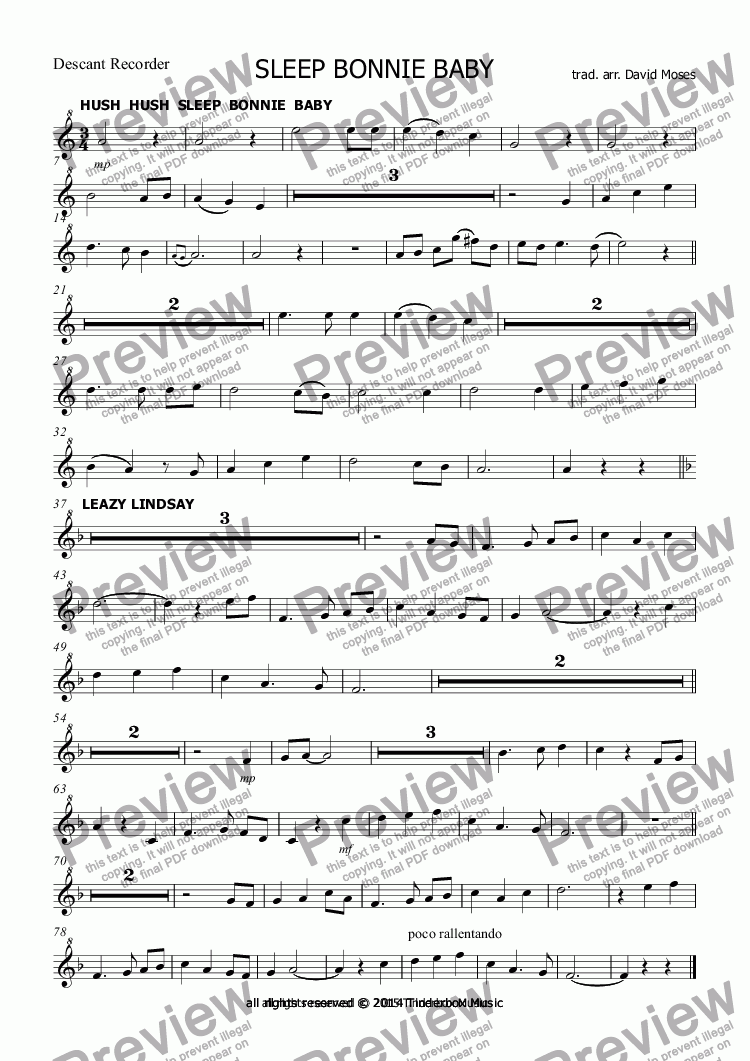 page one of the Descant Recorder part from SLEEP BONNIE BABY