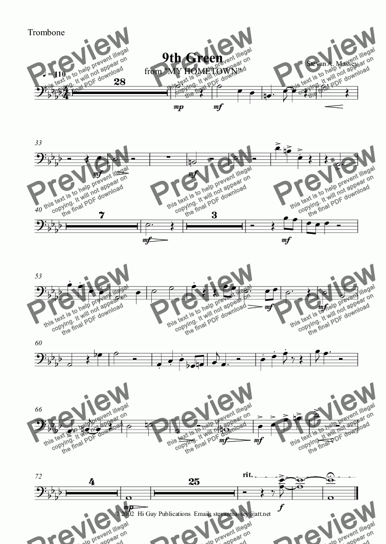 page one of the Trombone part from 9th Green