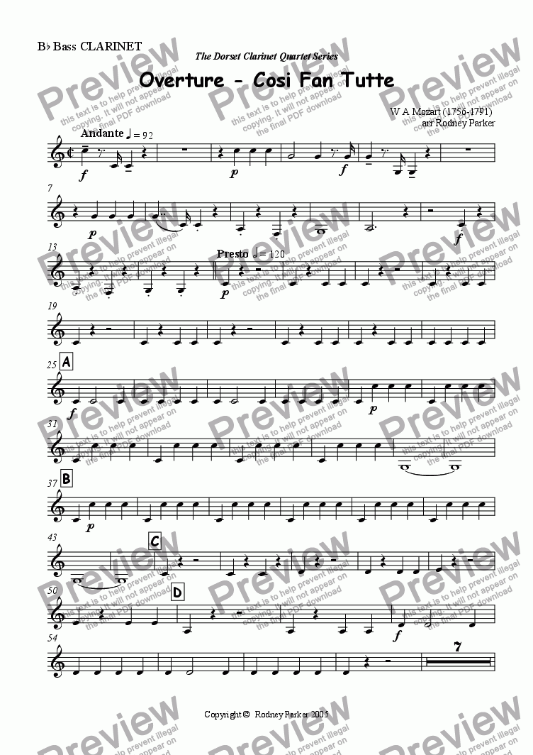page one of the Bass Clarinet part from Overture - Cosi Fan Tutte arr for Clarinet Quartet