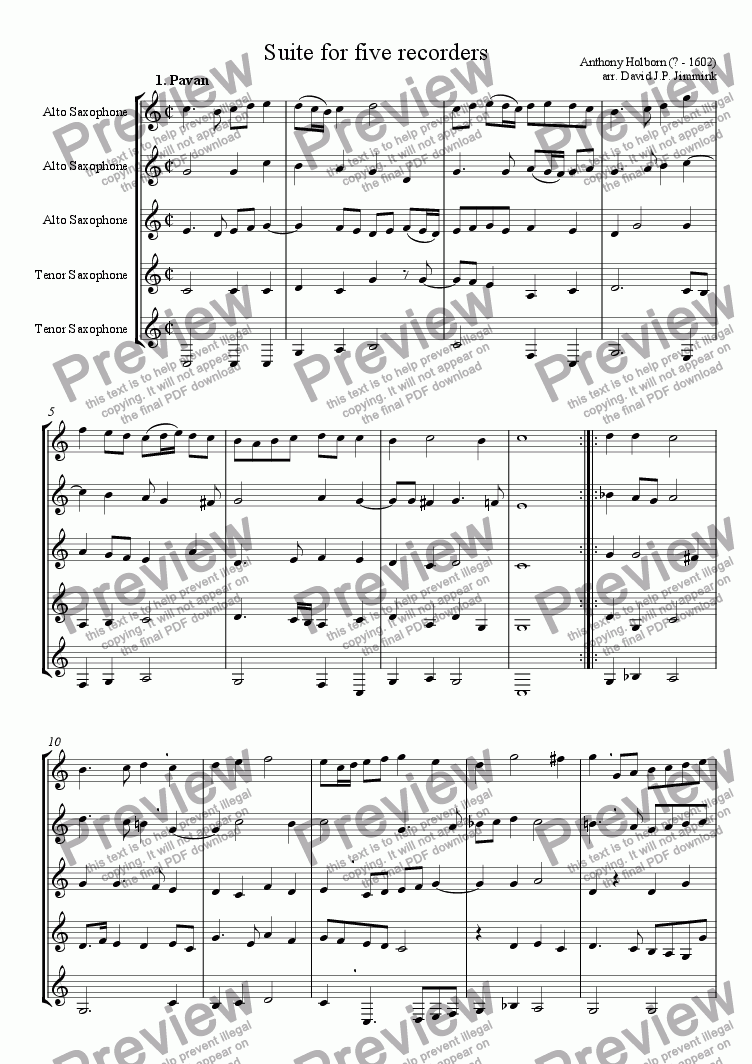 page one of the Version for Saxophone quinet (3x alto, 2x tenor) part from Suite for 5 recorders