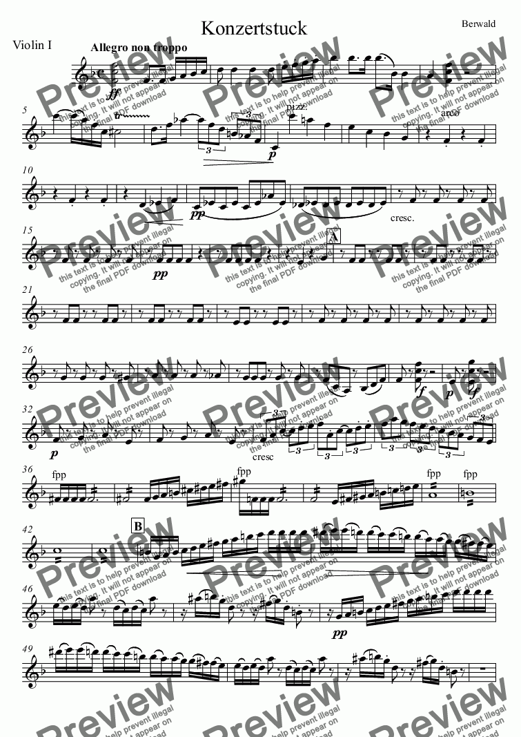page one of the Violin I part from Konzertstuck for bassoon and orchestra