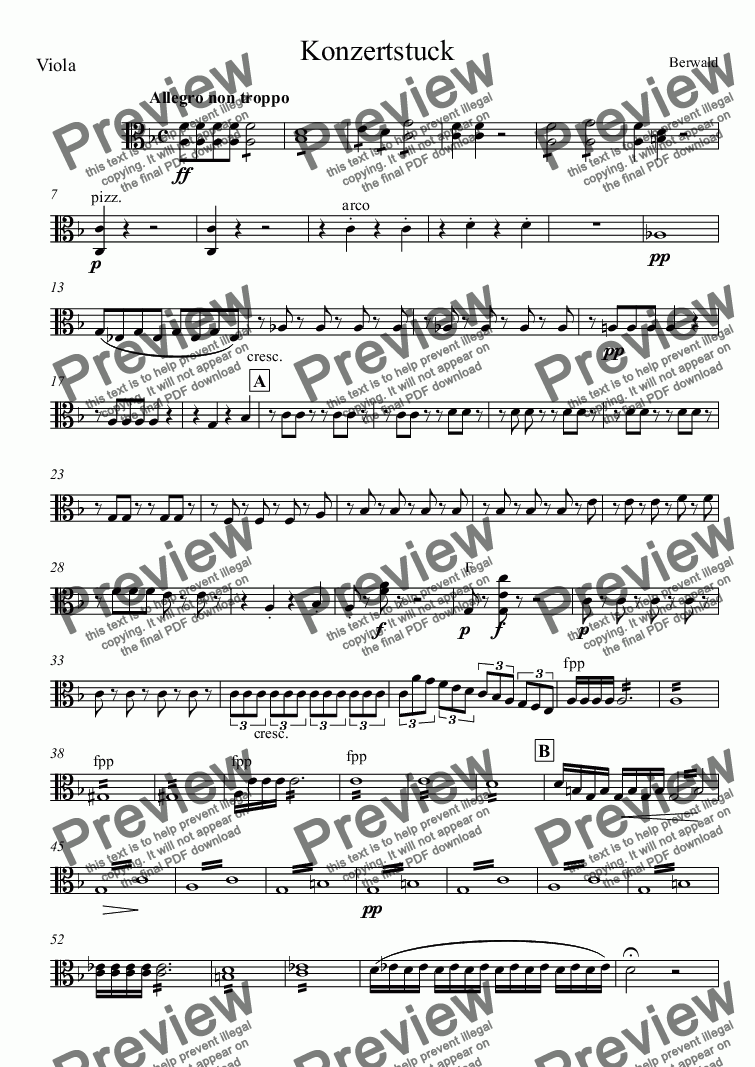 page one of the Viola part from Konzertstuck for bassoon and orchestra