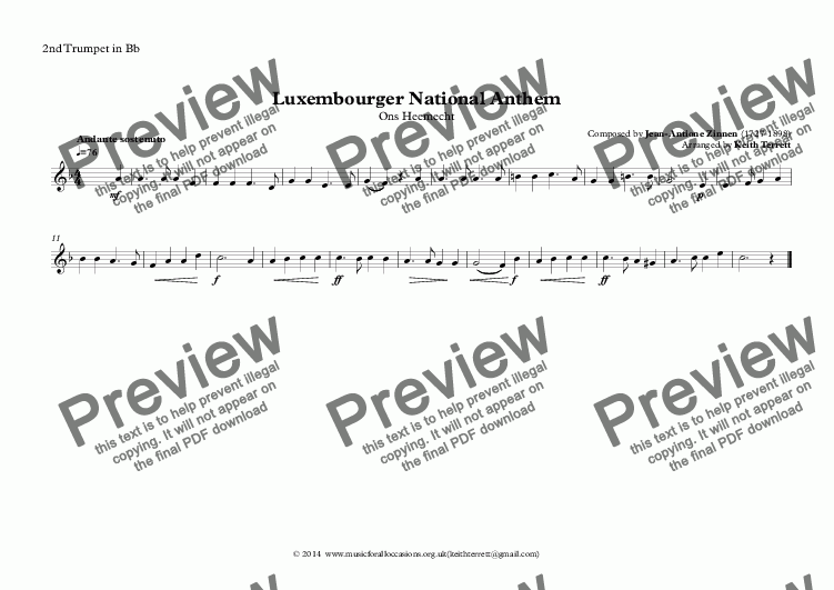 page one of the 2nd Trumpet in Bb part from Luxemburgish National Anthem for Brass Quintet (MFAO World National Anthem Series)