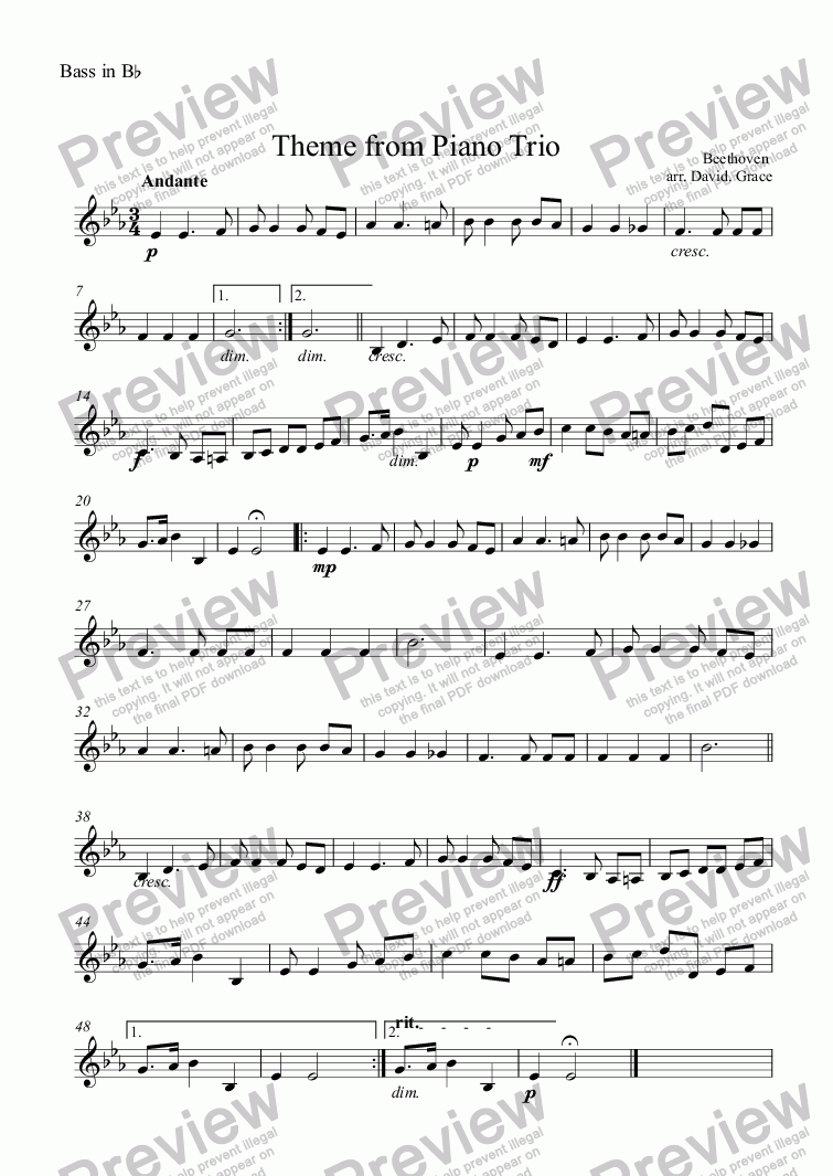 page one of the Bass in B^b part from Theme from Piano Trio [Beethoven]