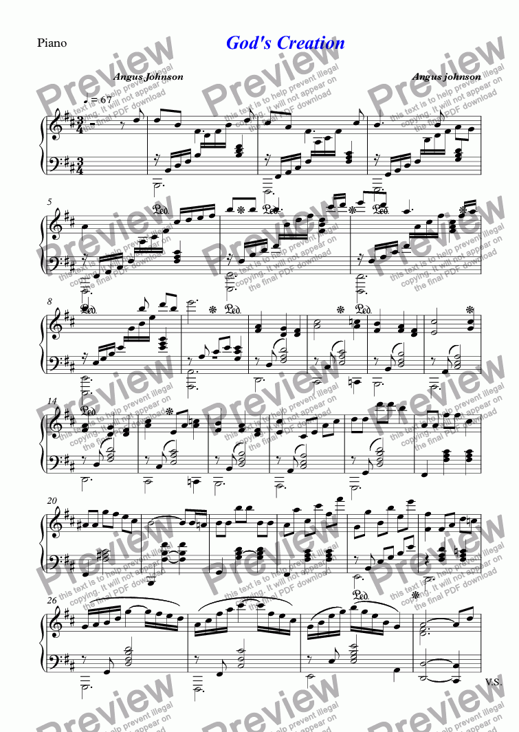 page one of the Piano part from God's Creation