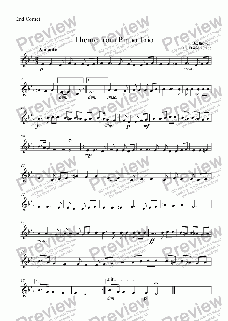 page one of the 2nd Cornet part from Theme from Piano Trio [Beethoven]
