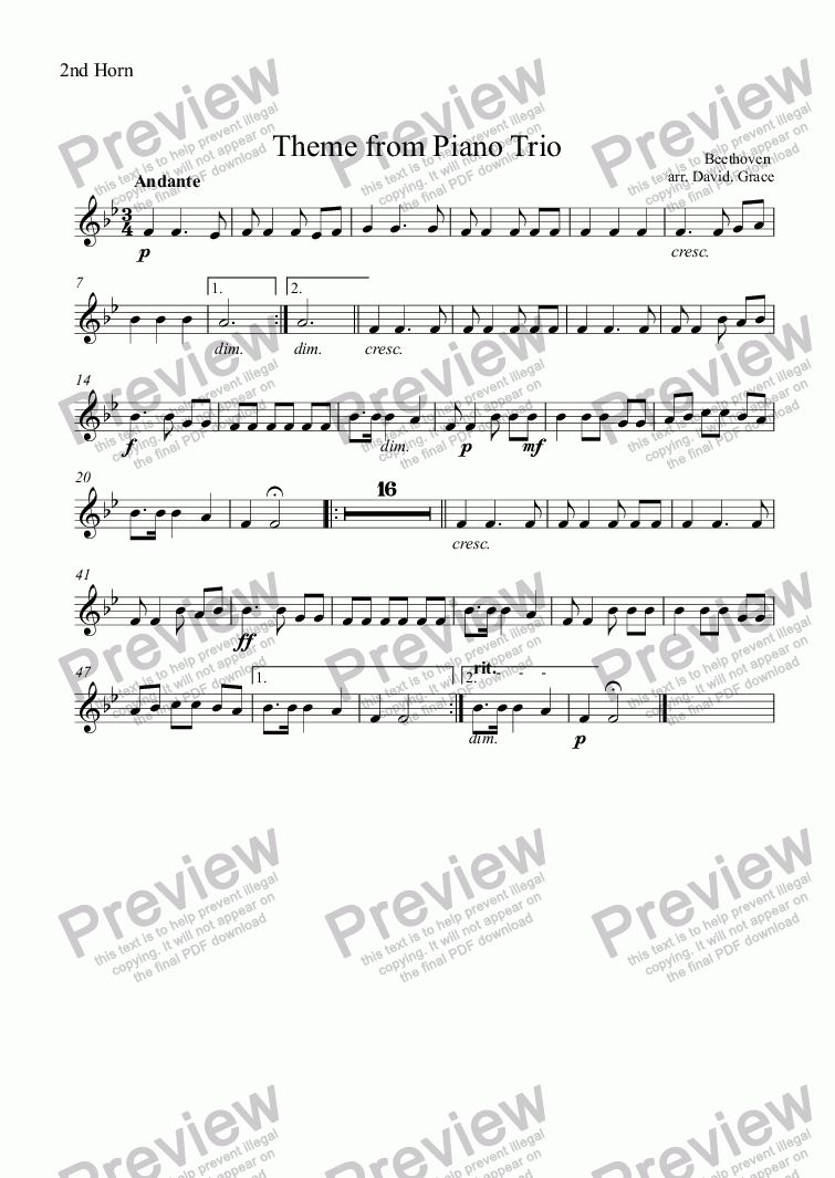 page one of the 2nd Horn part from Theme from Piano Trio [Beethoven]