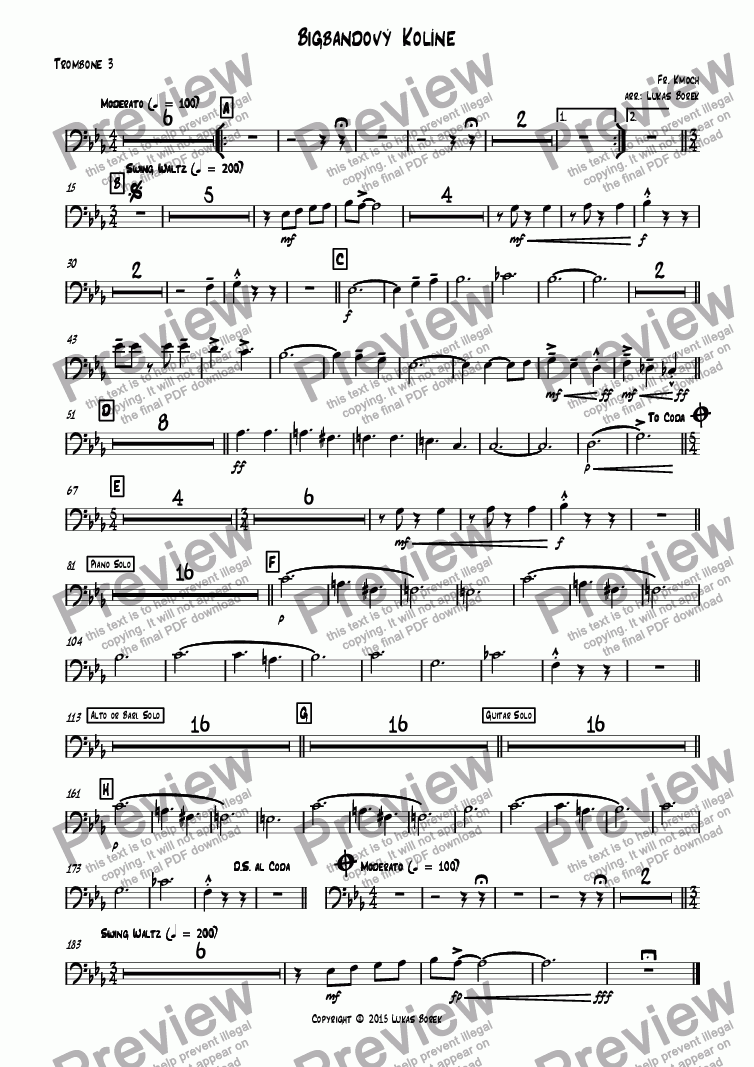 page one of the Trombone 3 part from Big Band Kolin (jazz variation on Kolíne, Kolíne for big band)
