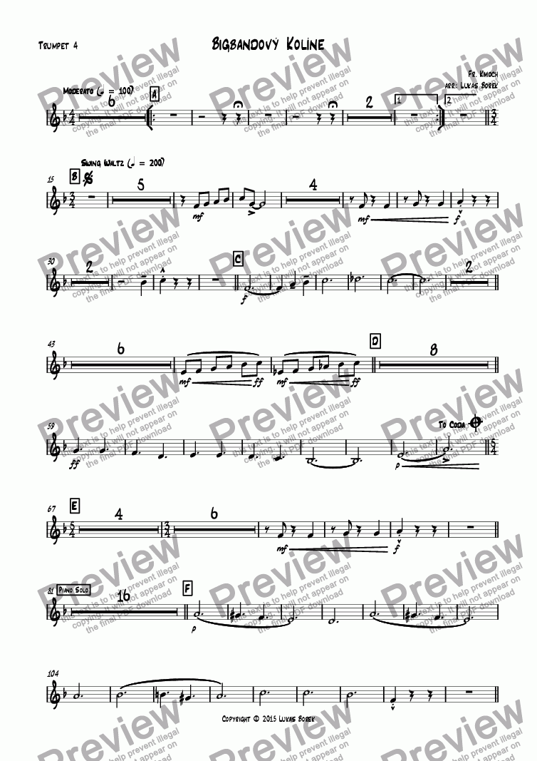 page one of the Trumpet 4 part from Big Band Kolin (jazz variation on Kolíne, Kolíne for big band)