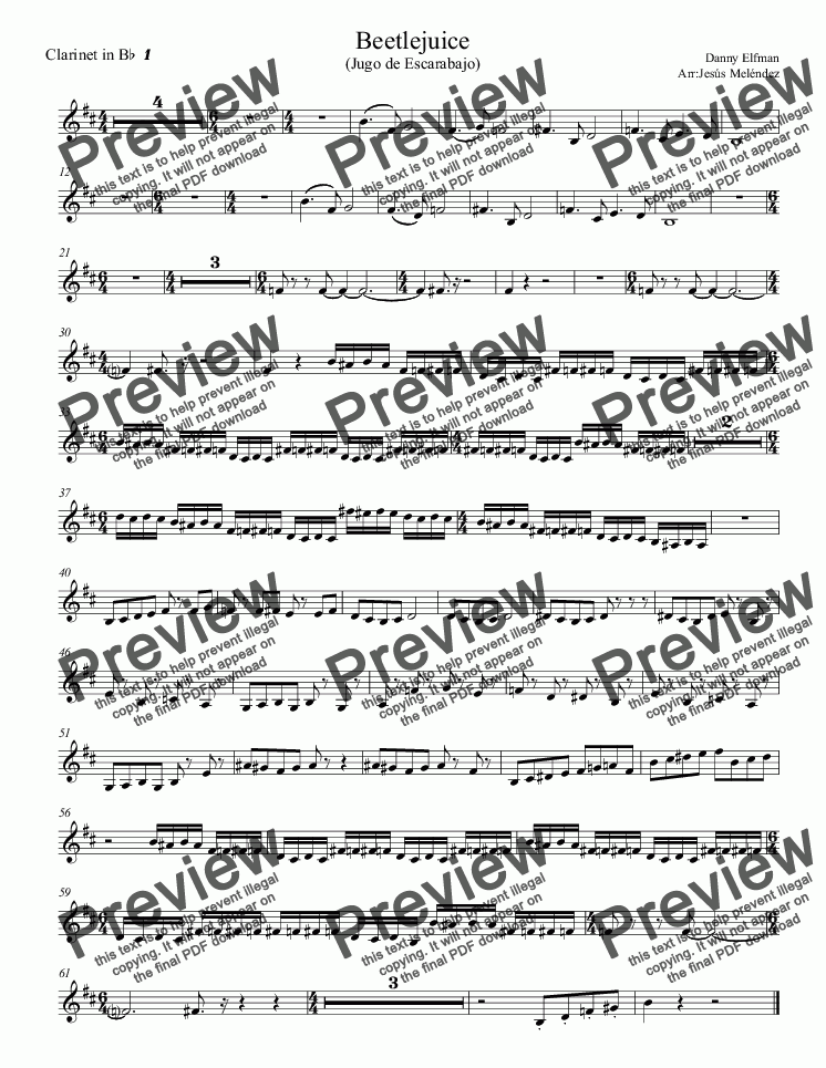 page one of the Clarinet in B^b^ ^1 part from Beetlejuice