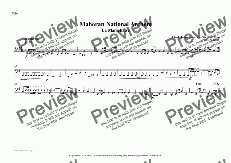 page one of the Tuba part from Mahoran National Anthem (MFAO World National Anthem Series) for Brass Quintet