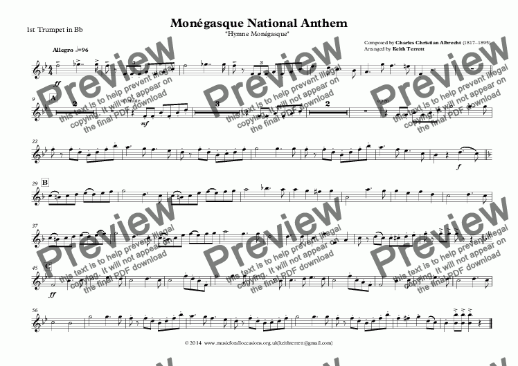 page one of the 1st Trumpet in Bb part from Monégasque National Anthem (Monaco) for Brass Quintet (MFAO World National Anthem Series)