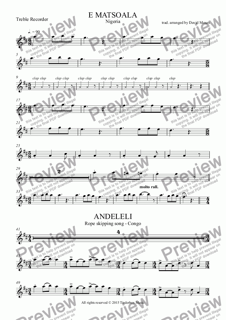page one of the Treble Recorder part from AFRICAN SONG SET