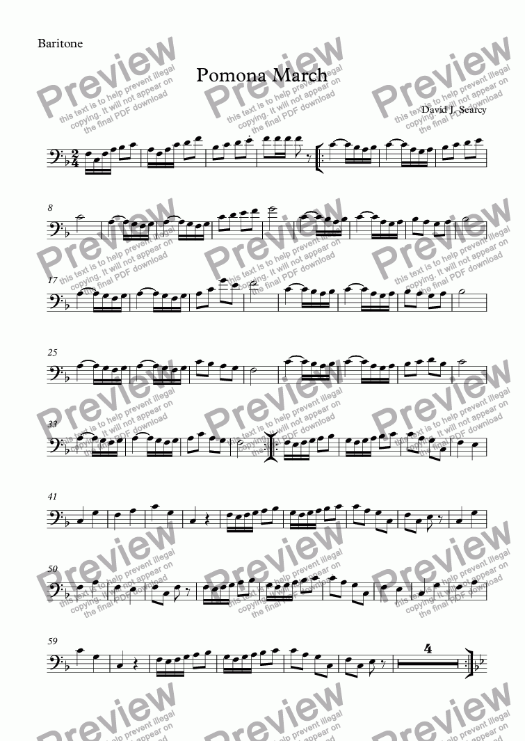 page one of the Baritone part from Pomona March