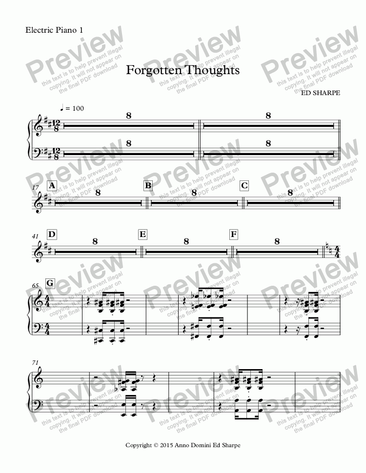 page one of the Electric Piano 1 part from Forgotten Thoughts