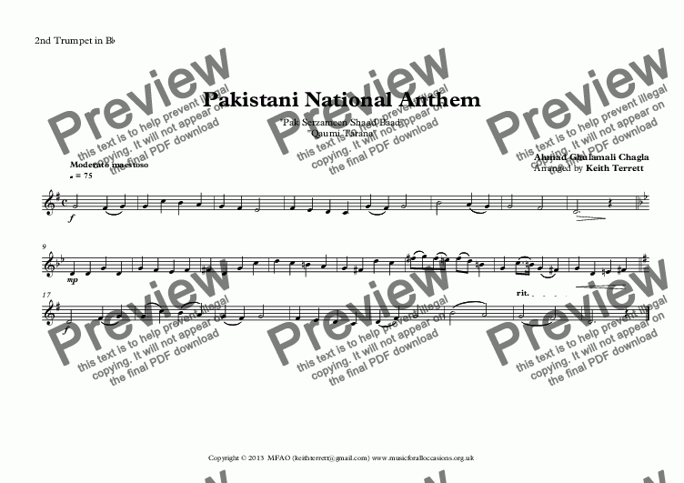 page one of the 2nd Trumpet in B^b part from Pakistani National Anthem for Brass Quintet (MFAO World National Anthem Series)