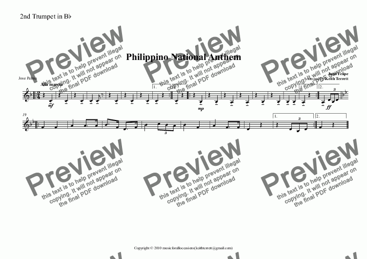 page one of the 2nd Trumpet in B^b part from Philippino National Anthem for Brass Quintet (MFAO World National Anthem Series)