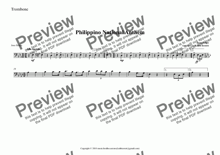 page one of the Trombone part from Philippino National Anthem for Brass Quintet (MFAO World National Anthem Series)