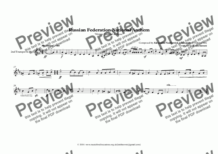 page one of the 2nd Trumpet in Bb part from Russian Federation National Anthem (Hymne National de Russe) for Brass Quintet (World National Anthem Series)