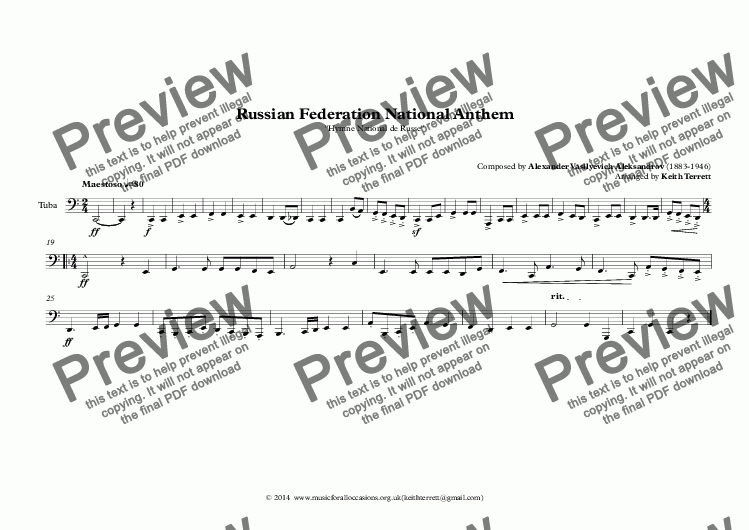 page one of the Tuba part from Russian Federation National Anthem (Hymne National de Russe) for Brass Quintet (World National Anthem Series)