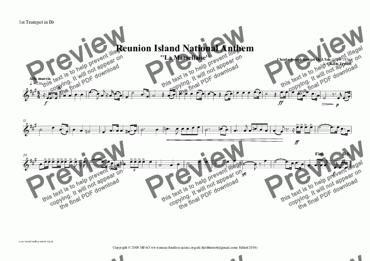 page one of the 1st Trumpet in B^b part from Reunion Island National Anthem for Brass (MFAO World National Anthem Series)