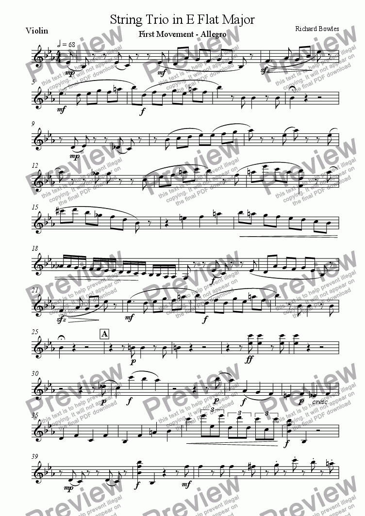 page one of the Violin part from String Trio in E flat major - First Movement