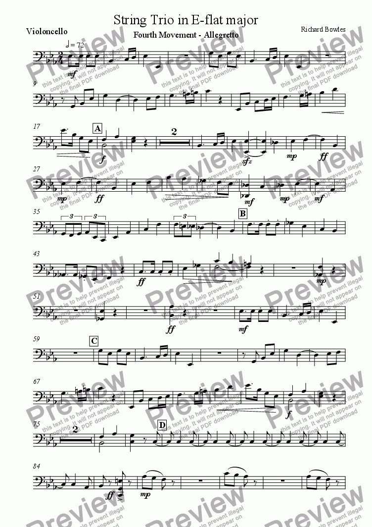 page one of the Violoncello part from String Trio in E flat major - Fourth Movement