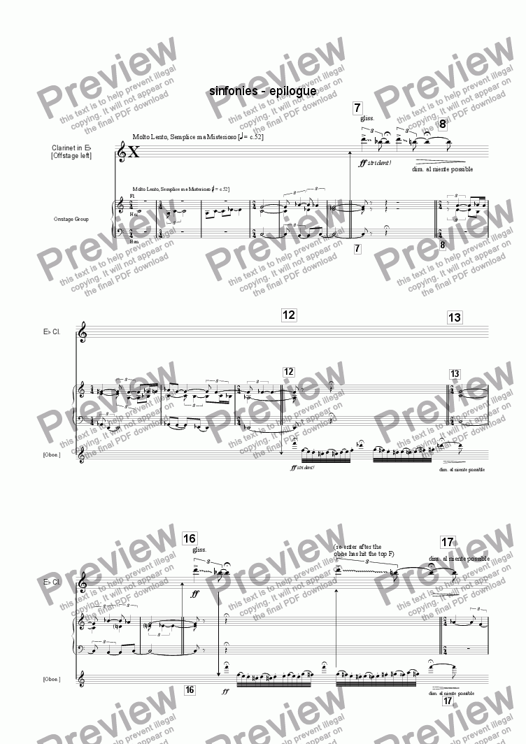 page one of the Clarinet(s) part from Sinfonies Epilogue