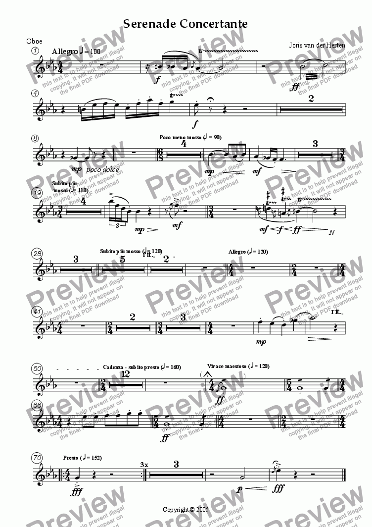 page one of the Oboe part from Serenade Concertante (juvenilia, mixed ensemble)