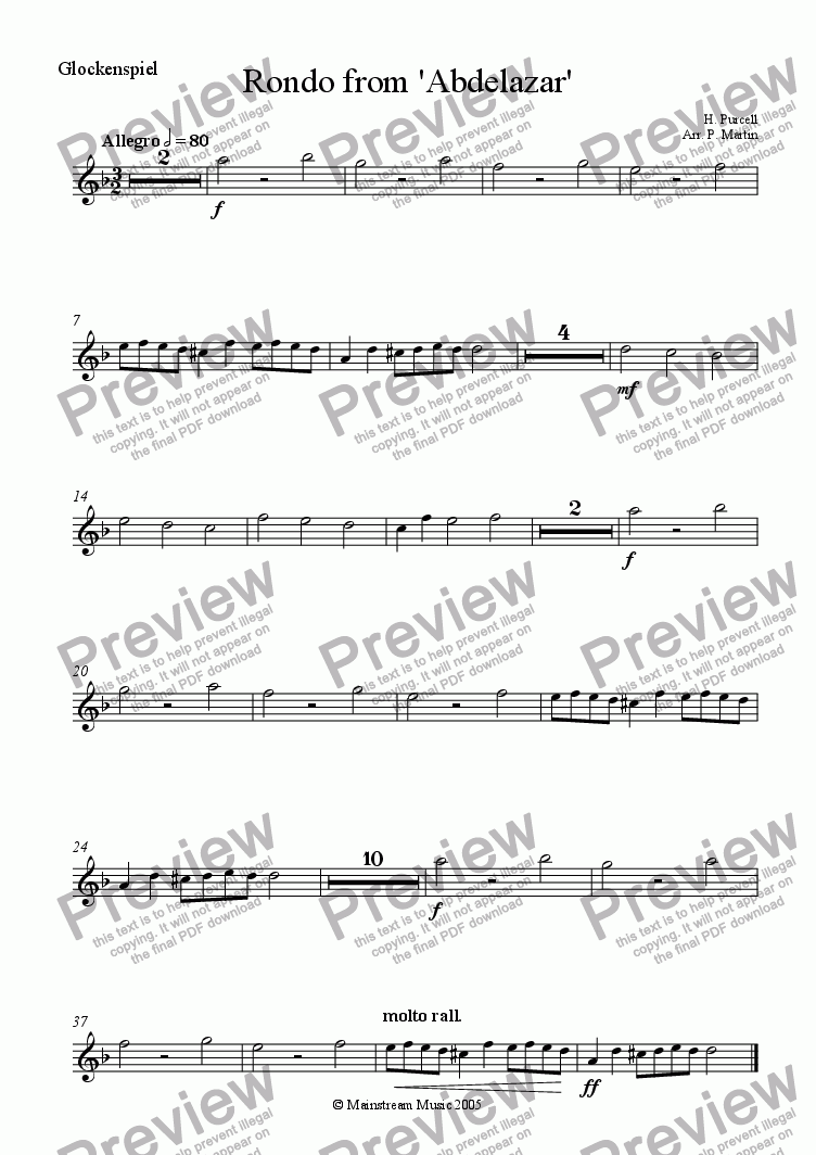 page one of the Glockenspiel part from Rondo from 'Abdelazar' - Orchestra