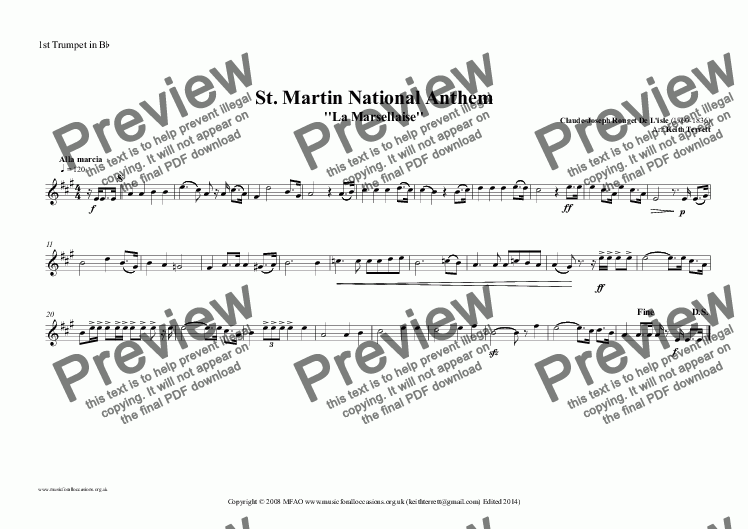page one of the 1st Trumpet in B^b part from St. Martin National Anthem ''La Marsellaise'' (MFAO World National Anthem Series)