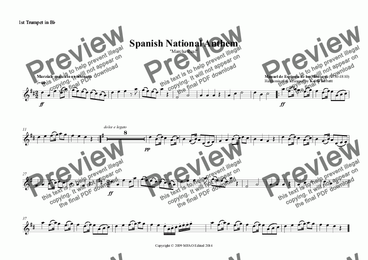 page one of the 1st Trumpet in B^b part from Spanish National Anthem (Marcha Real) for Brass Quintet (MFAO World National Anthem Series)