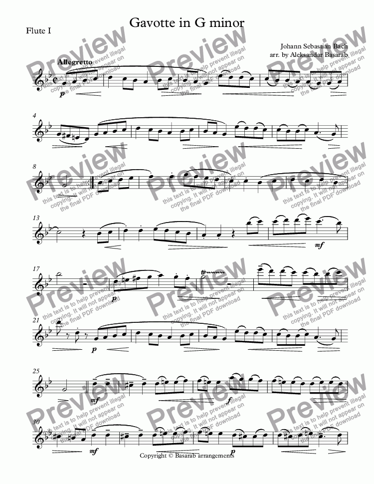 page one of the Flute I part from Bach - Gavotte in G minor arr. for Two Flutes & Piano