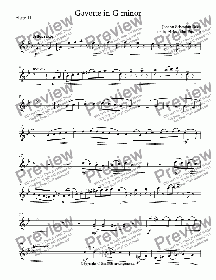 page one of the Flute II part from Bach - Gavotte in G minor arr. for Two Flutes & Piano