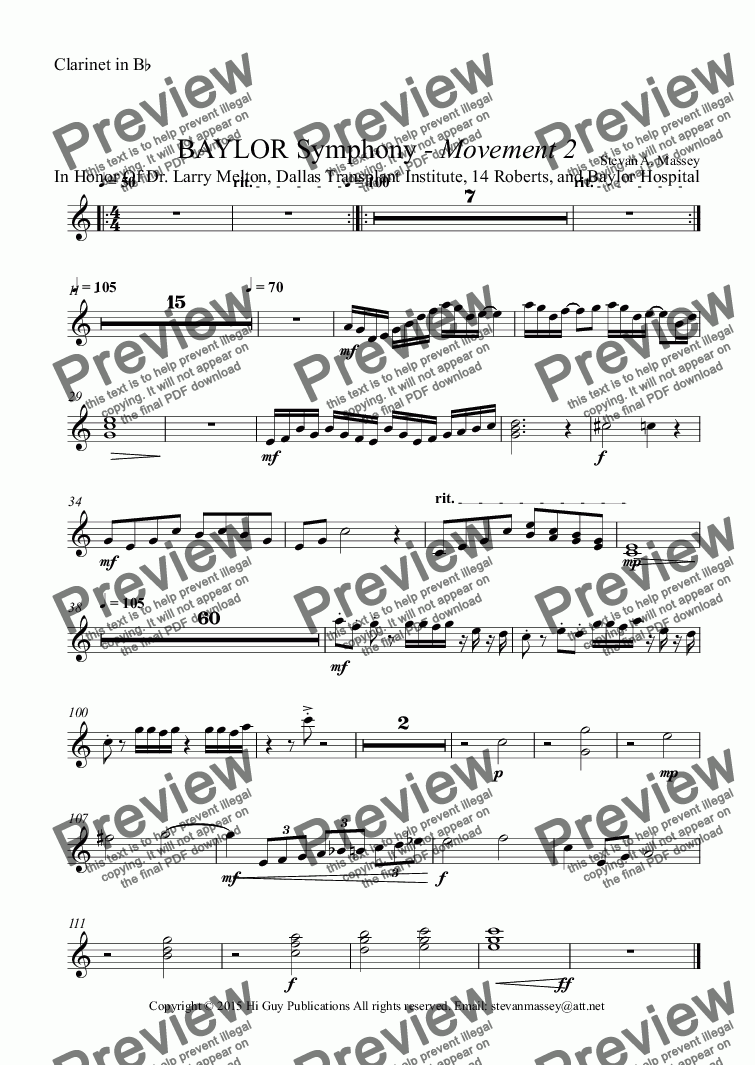 page one of the Clarinet in B^b part from BAYLOR Symphony - Movement 2