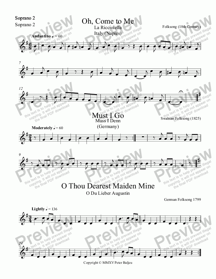 page one of the Soprano 2 part from 3 European Folk Songs for Recorders